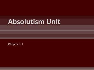 Absolutism Unit