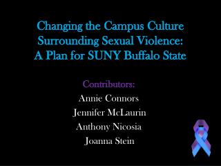 Changing the Campus Culture Surrounding Sexual Violence: A Plan for SUNY Buffalo State