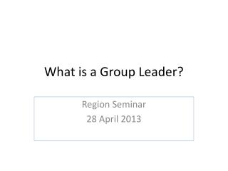 What is a Group Leader?