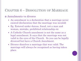 Chapter 6 – Dissolution of Marriage