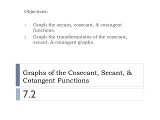 Graphs of the Cosecant, Secant, & Cotangent Functions