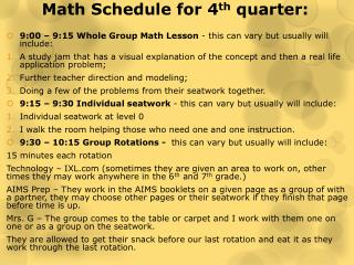 Math Schedule for 4 th  quarter: