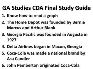 GA Studies CDA  Final Study Guide