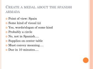 Create a medal about the  spanish  armada