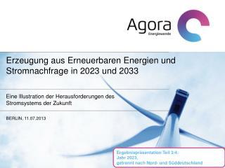 Erzeugung aus Erneuerbaren Energien und  Stromnachfrage in  2023 und 2033