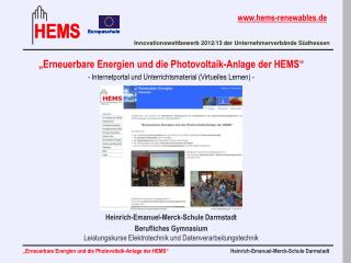 """""""Erneuerbare Energien und die Photovoltaik-Anlage der HEMS"""""""