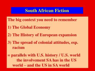 South  African Fiction