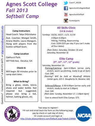 Agnes Scott College   Fall 2013 Softball Camp