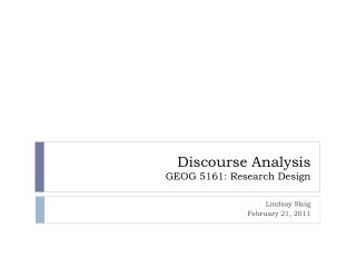Discourse Analysis GEOG 5161: Research Design