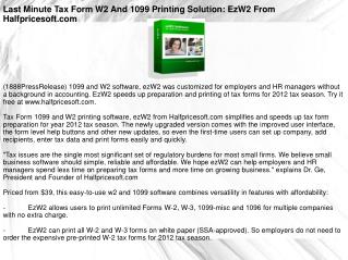 Last Minute Tax Form W2 And 1099 Printing Solution: EzW2 Fro