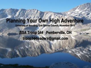 Planning Your Own High Adventure