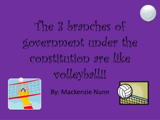 The 3 branches of government under the constitution are like volleyball!!