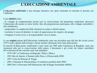 L'EDUCAZIONE AMBIENTALE