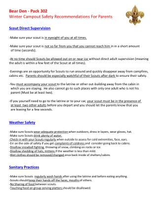 Bear  Den - Pack 302 Winter Campout Safety Recommendations For Parents