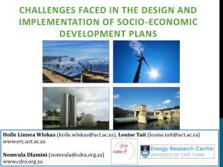 Challenges faced in the design and implementation of socio-economic development  plans