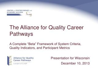 The Alliance for Quality Career Pathways