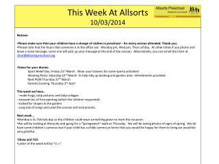 This Week At  Allsorts 10 /03/ 2014