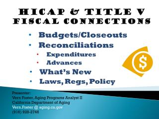 HICAP & Title V Fiscal Connections