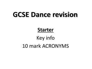 GCSE Dance revision