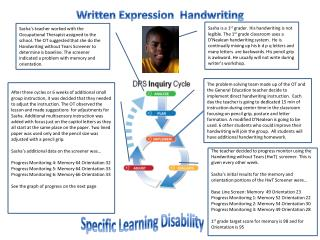 Written Expression  Handwriting