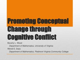 Promoting Conceptual Change through Cognitive Conflict