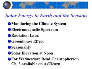 Solar Energy to Earth and the Seasons
