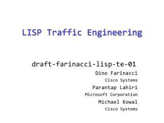 LISP Traffic Engineering