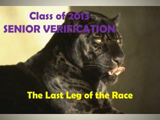 Class of 2013 SENIOR VERIFICATION