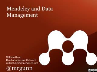 Mendeley and Data Management