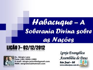Habacuque  – A Soberania Divina sobre as Nações