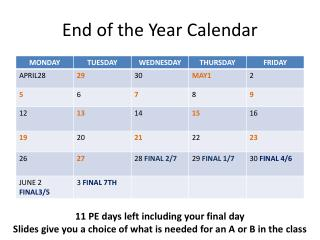 End of the Year Calendar