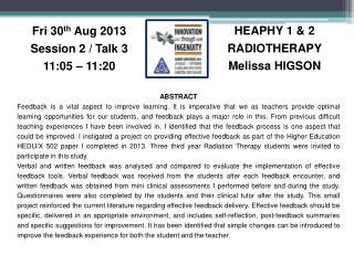 HEAPHY 1 & 2 RADIOTHERAPY Melissa HIGSON