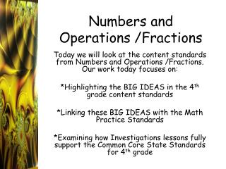 Numbers and Operations /Fractions