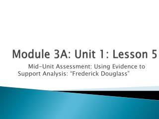 Module 3A: Unit 1: Lesson  5