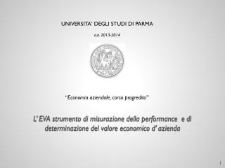 UNIVERSITA� DEGLI STUDI  DI  PARMA a.a.  2013-2014