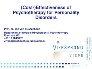 ( Cost- ) Effectiveness of Psychotherapy for Personality Disorders