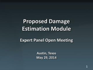 Proposed Damage Estimation Module Expert Panel Open Meeting Austin, Texas May 29, 2014