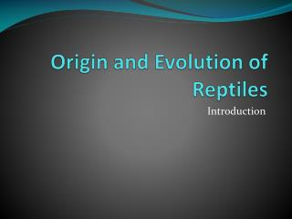 Origin and Evolution of Reptiles