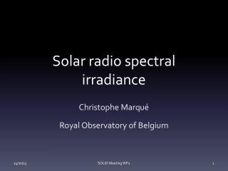 Solar radio spectral irradiance