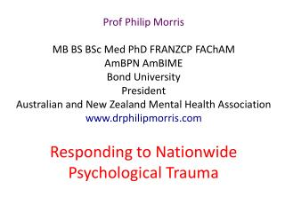 Responding to Nationwide Psychological Trauma