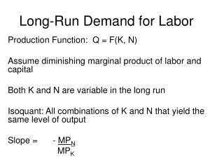Long-Run Demand for Labor