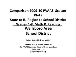 PVAAS Statewide Team for PDE Contact your IU PVAAS contact or