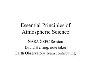 Essential Principles of Atmospheric Science