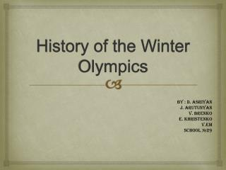 History of the Winter Olympics