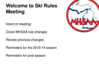 Welcome to Ski Rules Meeting