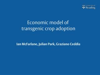 Economic model of  transgenic crop adoption