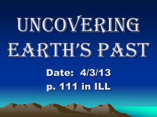 Uncovering Earth's Past