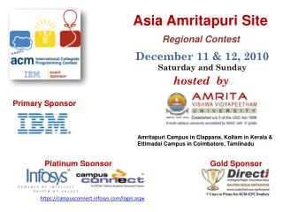 Asia Amritapuri Site  Regional Contest  December 11 & 12, 2010 Saturday and Sunday