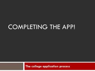 Completing the app!
