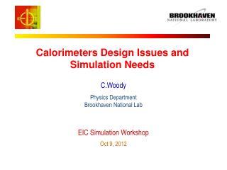 Calorimeters Design Issues and Simulation Needs